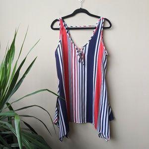 Francesca's Betty Striped Cover-Up Mini Dress S/M